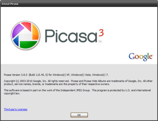 About Dialog Box of Picasa 3